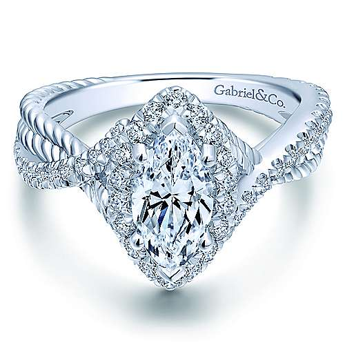 Gabriel - Avalon 14k White Gold Marquise  Halo Engagement Ring