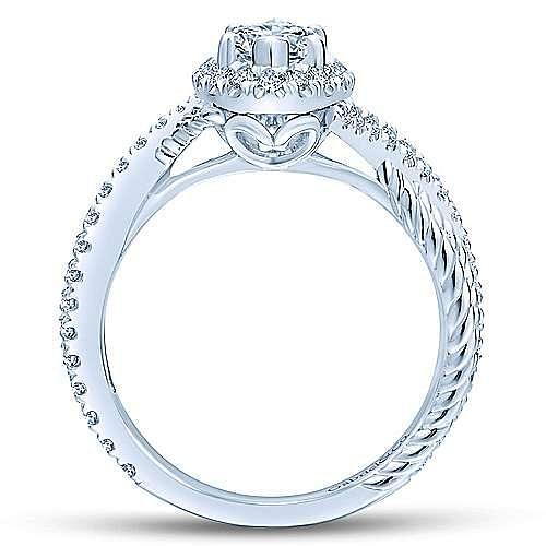Avalon 14k White Gold Marquise  Halo Engagement Ring angle 2