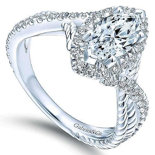 Avalon 14k White Gold Marquise  Halo Engagement Ring angle 3