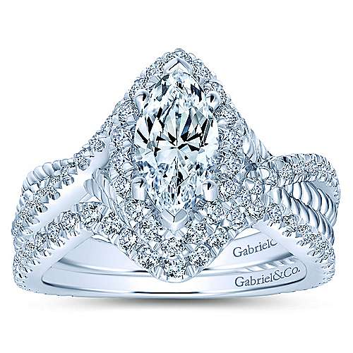 Avalon 14k White Gold Marquise  Halo Engagement Ring angle 4