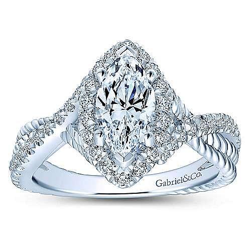 Avalon 14k White Gold Marquise  Halo Engagement Ring angle 5