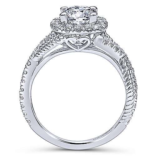 Avalon 14k White Gold Round Halo Engagement Ring angle 2