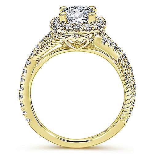 Avalon 14k Yellow Gold Round Halo Engagement Ring angle 2