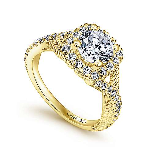 Avalon 14k Yellow Gold Round Halo Engagement Ring angle 3