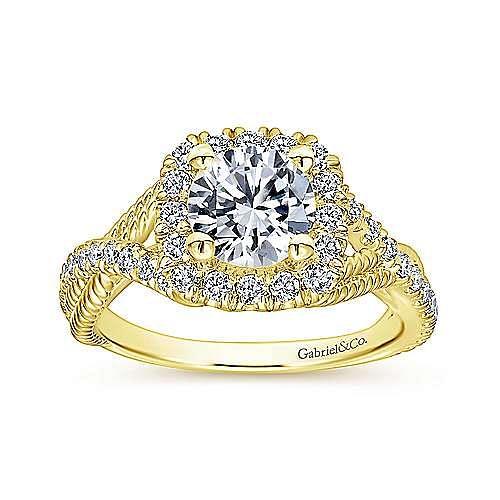 Avalon 14k Yellow Gold Round Halo Engagement Ring angle 5