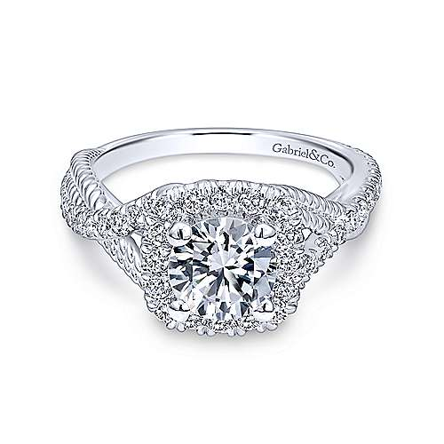 Gabriel - Avalon 18k White Gold Round Halo Engagement Ring