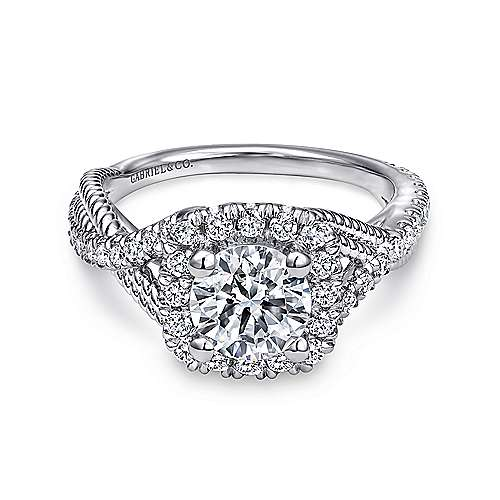 Gabriel - Avalon Platinum Round Halo Engagement Ring