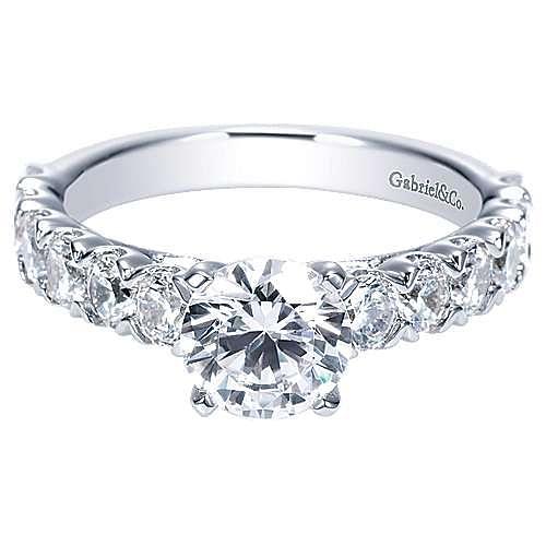 Aveline 14k White Gold Round Straight Engagement Ring angle 1