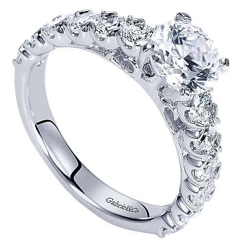 Aveline 14k White Gold Round Straight Engagement Ring angle 3