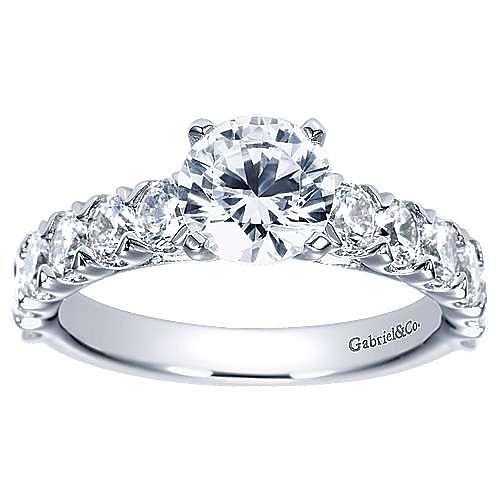 Aveline 14k White Gold Round Straight Engagement Ring angle 5