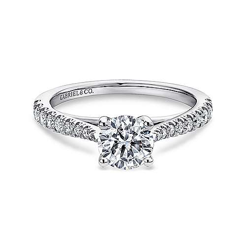 Gabriel - Avery 14k White Gold Round Straight Engagement Ring