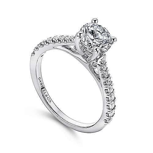 Avery 14k White Gold Round Straight Engagement Ring angle 3