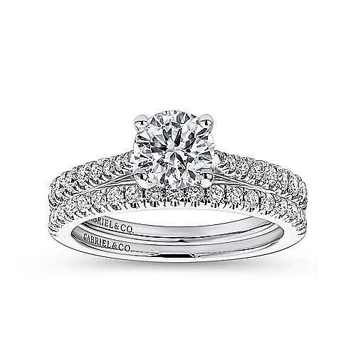 Avery 14k White Gold Round Straight Engagement Ring angle 4