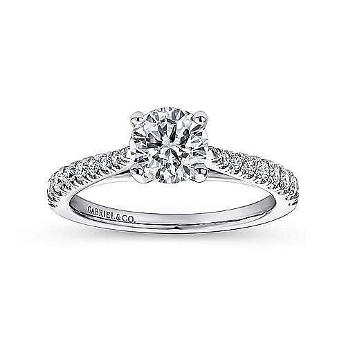Avery 14k White Gold Round Straight Engagement Ring angle 5