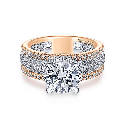 Gabriel - Avis 18k White And Rose Gold Round Straight Engagement Ring