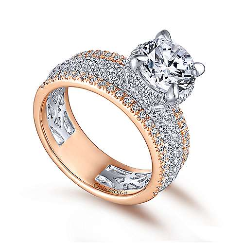 Avis 18k White And Rose Gold Round Straight Engagement Ring angle 3