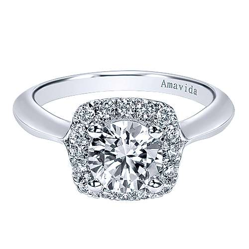 Gabriel - Ayla 18k White Gold Round Halo Engagement Ring