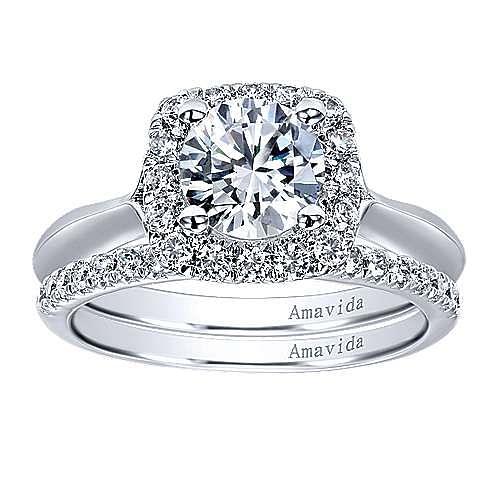 Ayla 18k White Gold Round Halo Engagement Ring angle 4