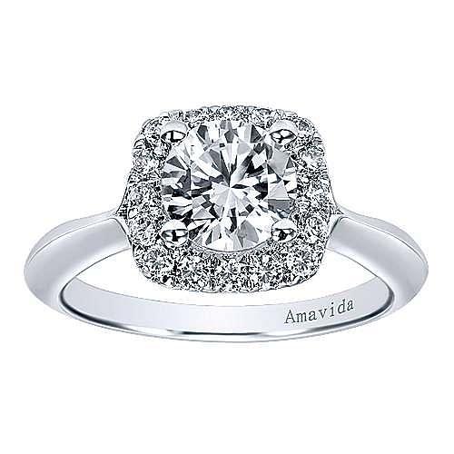 Ayla 18k White Gold Round Halo Engagement Ring angle 5