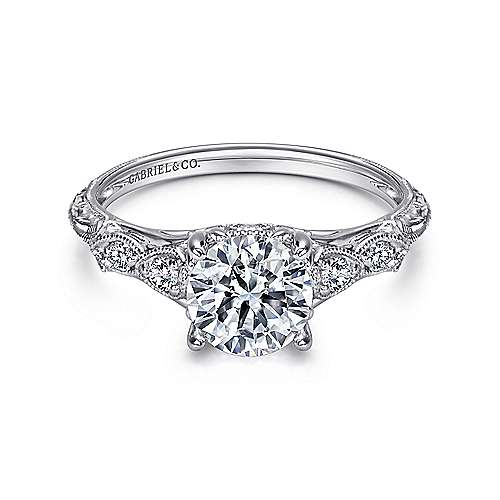 Azalea Platinum Round Straight Engagement Ring angle 1