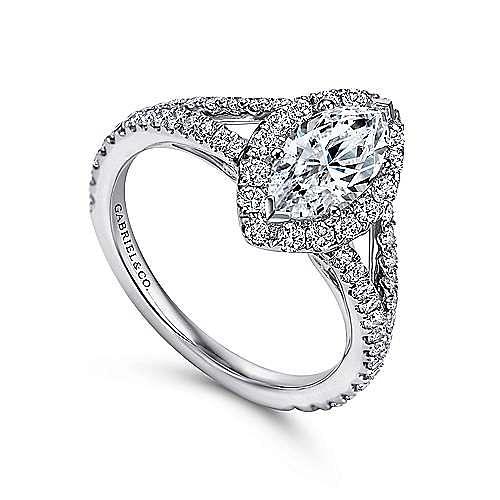 Azucena 18k White Gold Marquise  Halo Engagement Ring angle 3