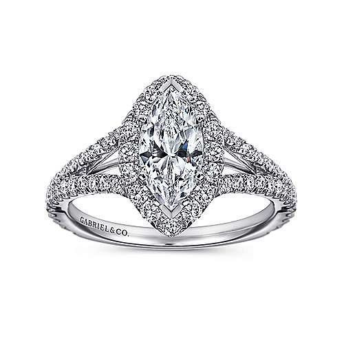 Azucena 18k White Gold Marquise  Halo Engagement Ring angle 5