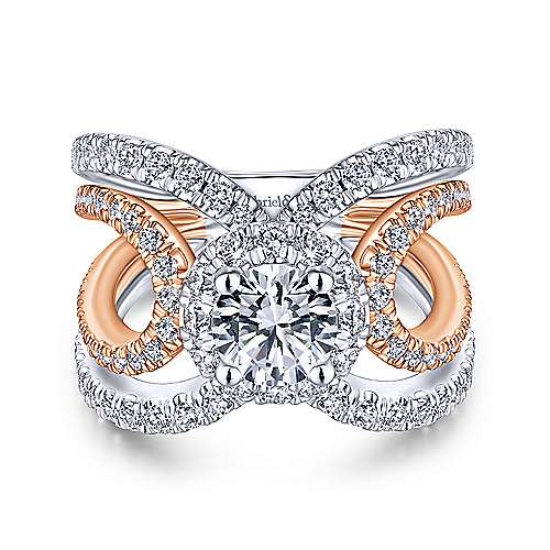 Gabriel - Bahamas 18k White And Rose Gold Round Halo Engagement Ring