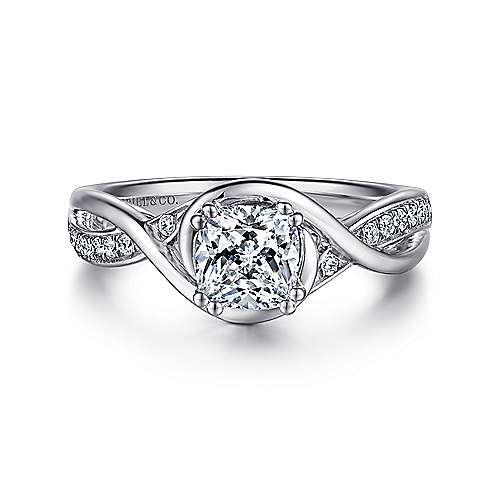 Gabriel - Bailey 14k White Gold Cushion Cut Twisted Engagement Ring