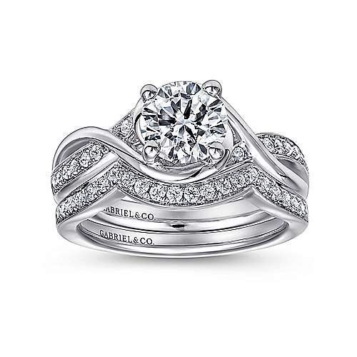 Bailey 14k White Gold Round Twisted Engagement Ring angle 4