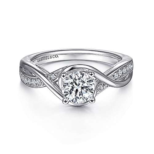 Bailey 14k White Gold Round Twisted Engagement Ring angle 1