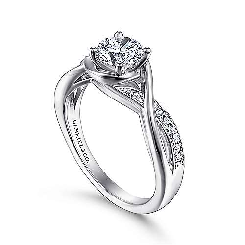 Bailey 14k White Gold Round Twisted Engagement Ring angle 3