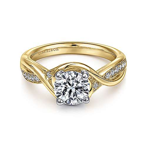 Bailey 14k Yellow And White Gold Round Twisted Engagement Ring angle 1