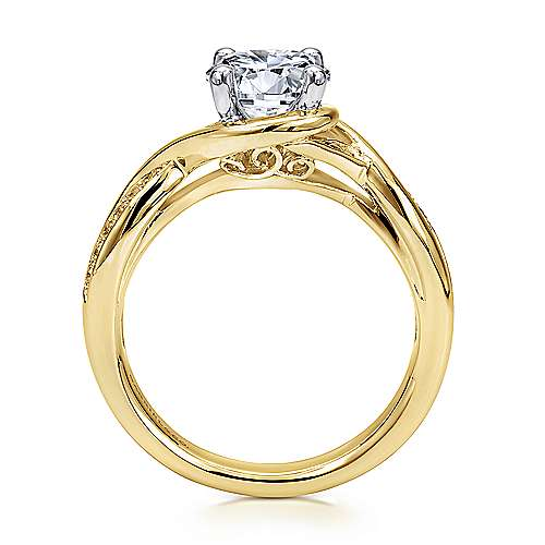 Bailey 14k Yellow And White Gold Round Twisted Engagement Ring angle 2