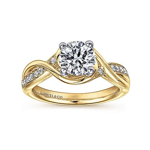 Bailey 14k Yellow And White Gold Round Twisted Engagement Ring angle 5