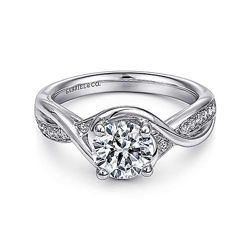 Gabriel - Bailey Platinum Round Twisted Engagement Ring