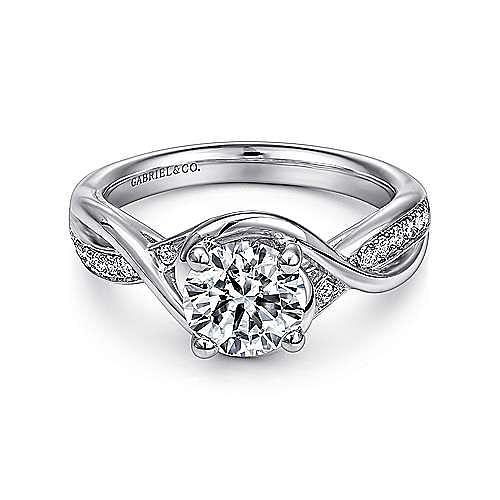 Gabriel - Bailey Platinum Round Twisted Engagement Ring