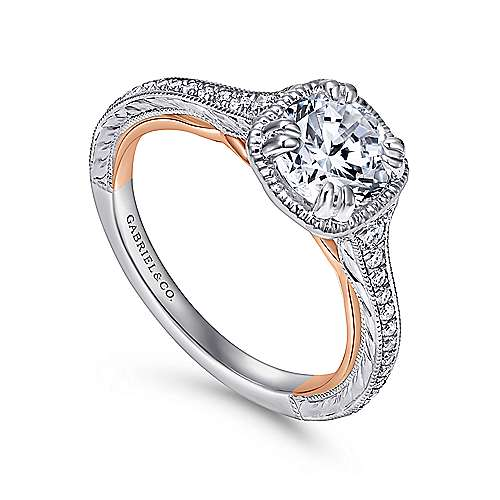 Bali 18k White And Rose Gold Round Straight Engagement Ring angle 3
