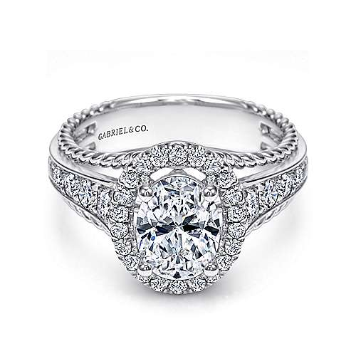 Ballantine 14k White Gold Oval Halo Engagement Ring angle 1