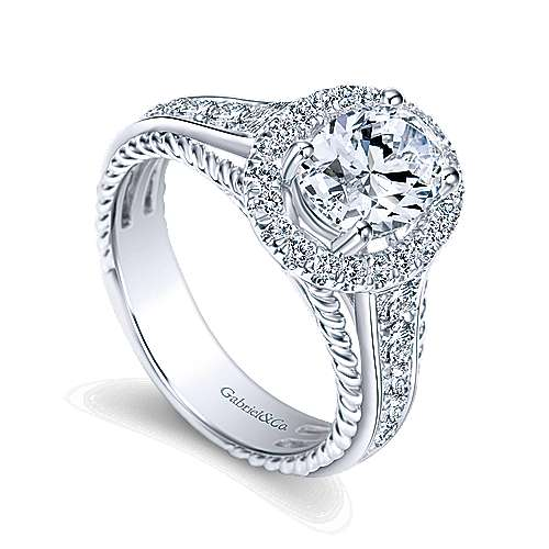 Ballantine 14k White Gold Oval Halo Engagement Ring angle 3