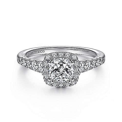 Gabriel - Balsam 14k White Gold Cushion Cut Halo Engagement Ring