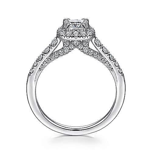 Balsam 14k White Gold Cushion Cut Halo Engagement Ring angle 2