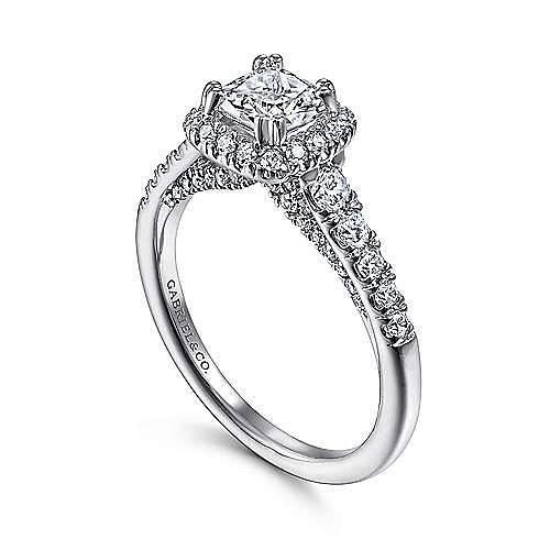 Balsam 14k White Gold Cushion Cut Halo Engagement Ring angle 3