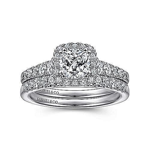 Balsam 14k White Gold Cushion Cut Halo Engagement Ring angle 4