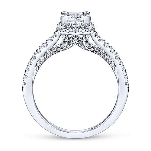 Balsam 14k White Gold Princess Cut Halo Engagement Ring angle 2
