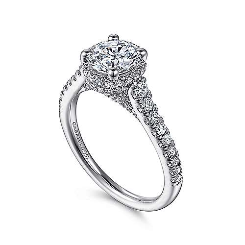 Barcelona 14k White Gold Round Straight Engagement Ring angle 3