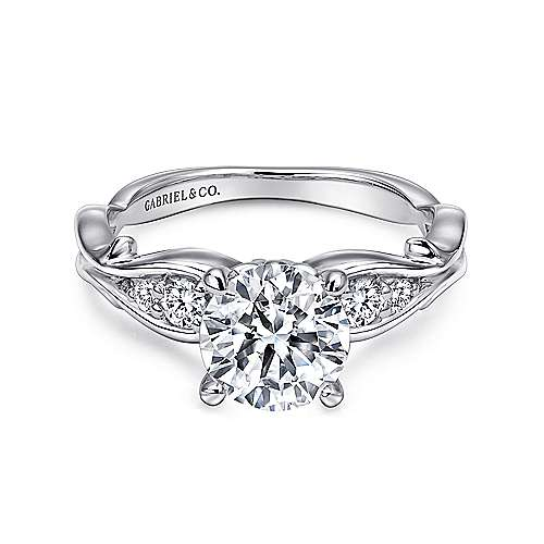 Barcia 18k White Gold Round Straight Engagement Ring angle 1
