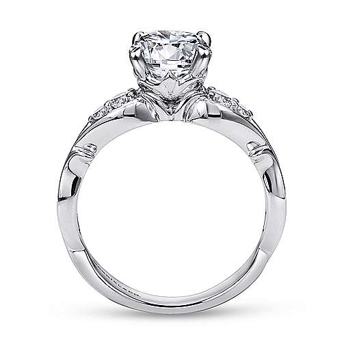 Barcia 18k White Gold Round Straight Engagement Ring angle 2