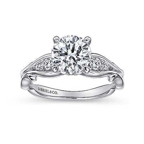 Barcia 18k White Gold Round Straight Engagement Ring angle 5