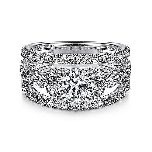 Gabriel - Barden 14k White Gold Round Split Shank Engagement Ring