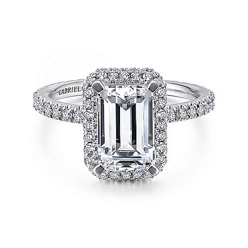 Gabriel - Bardot 18k White Gold Emerald Cut Double Halo Engagement Ring